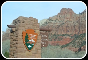 The entrance to Zion National Park