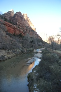 The Virgin River from the bridge across Zion Lodge