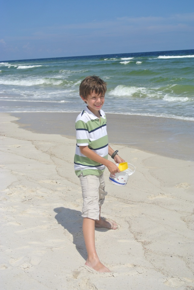 Philippe enjoying his first time at the Gulf of Mexico